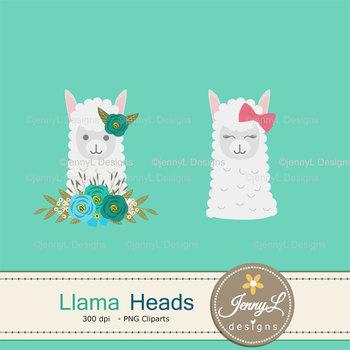 Llama Alpaca Faces Clipart, Flower Llama