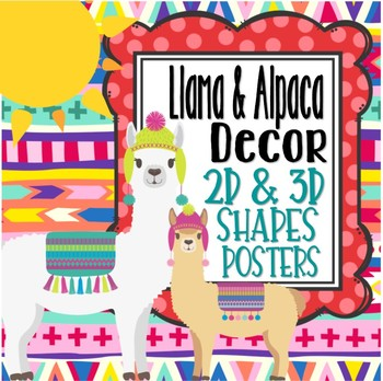 Llama & Alpaca Themed 2D & 3D Shapes Posters