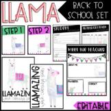 Llama Back To School/ Meet The Teacher Set - EDITABLE