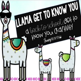 Llama Back to School Get to Know You ::Craftivity::