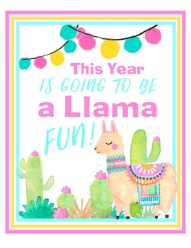 Llama Back to School Signs - Welcome and Table Numbers