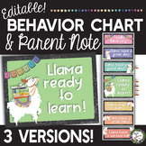 Editable Llama Behavior Clip Chart with Daily Parent Note