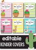 Llama Binder Covers and Spines EDITABLE, Cactus Binder Covers