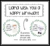 Llama Birthday Tags