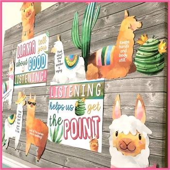 Llama Bulletin Board for Good Listening {Speech and Language or Classroom}
