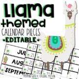 Llama Calendar Pieces Display Board (Editable) Llama Classroom Decor