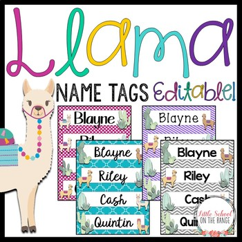 Llama Classoom Decor: Name Tags