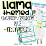 Llama Classroom/Bathroom Rules (Editable) Llama Classroom Decor