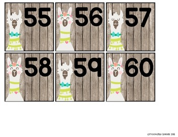 Llama Classroom Decor 100 and 120 Chart and Number Line