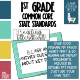 Llama Classroom Decor - 1st Grade CCSS Posters EDITABLE