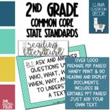 Llama Classroom Decor - 2nd Grade CCSS Posters EDITABLE