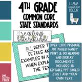 Llama Classroom Decor - 4th Grade CCSS Posters EDITABLE