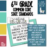 Llama Classroom Decor - 6th Grade CCSS Posters EDITABLE