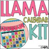 Llama Classroom Decor - Calendar Kit