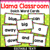 Llama Classroom Decor Dolch Word Wall Cards