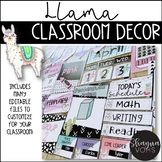 Llama and Cactus Classroom Decor Bundle |Editable|