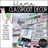 Llama and Cactus Classroom Decor Bundle |Editable|