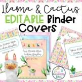 Llama Classroom Decor EDITABLE Binder Covers   FREEBIE