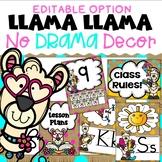 Llama Classroom Decor Editable