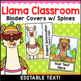 Llama Classroom Decor Editable Binder Covers