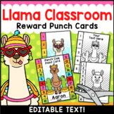 Llama Classroom Decor Editable Goal Punch Cards