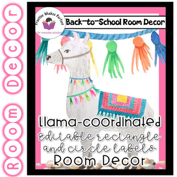 Llama Classroom  Decor - Editable Rectangle and Circle Labels