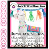 Llama Classroom  Decor - Editable Rectangle and Circle Labels