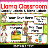Llama Classroom Decor Editable Supply Labels