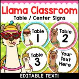 Llama Classroom Decor Editable Table Numbers