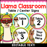 Llama Classroom Decor Editable Table Numbers