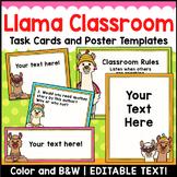 Llama Classroom Decor Editable Task Cards and Poster Templates