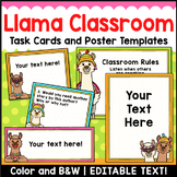 Llama Classroom Decor Editable Task Cards and Poster Templates