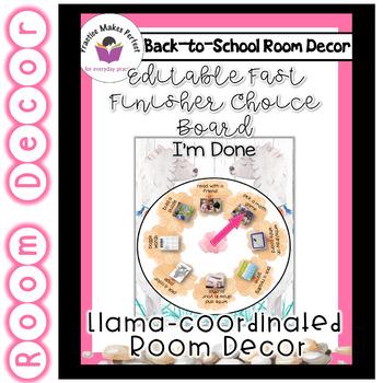 Llama Classroom  Decor - Fast Finisher Choice Board