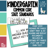 Llama Classroom Decor - Kindergarten CCSS Posters EDITABLE