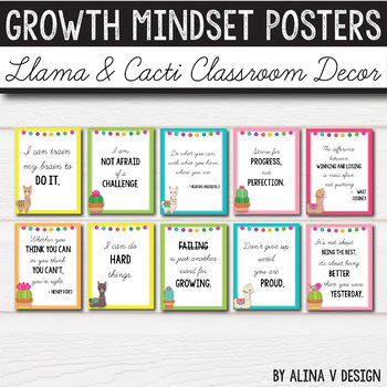 Llama Classroom Decor, Llama & Cacti Theme - Growth Mindset Posters