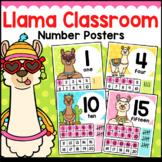 Llama Classroom Decor Number Posters