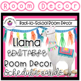 Llama Classroom Decor - Schedule Cards and Banners