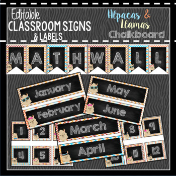 Llama Classroom Decor, Signs and Labels: Editable, Alpaca CHALKBOARD