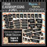 Llama Classroom Decor, Signs and Labels: Editable, Alpaca CHALKBOARD