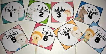 Llama Classroom Decor - Table numbers