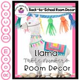 Llama Classroom Decor - Table numbers