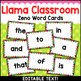 Llama Classroom Decor Zeno Word Wall Cards