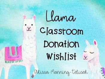 Llama Classroom Donation Wish List (Editable)