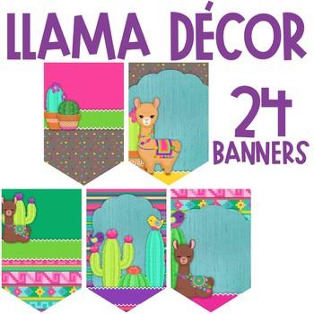 Llama and Cactus Classroom Theme Decor - Banners