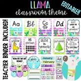Llama Classroom Theme: Editable with matching teacher binder