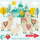 Llama Clipart, Alpaca Clipart, {Best Teacher Tools} AMB-1985