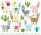 Llama Clipart, Llama Clip Art, Cactus Clipart, Cactus Clip Art