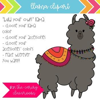 Llama Clipart Set - 4 Llamas with DIY Accessories