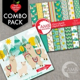 Llama Clipart and Papers COMBO Bundle, {Best Teacher Tools} AMB-1740