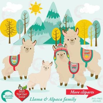 Llama Clipart and Papers COMBO Bundle, {Best Teacher Tools} AMB-1740
